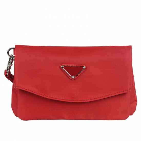 Red Nylon Clutch Bags